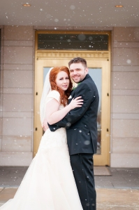 our wedding day! this was before the snow went from light to icky, (and you can tell i was freezing, even though i was so happy).